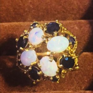 14KT Gold Blue Sapphire & Opal Free Form Ring
